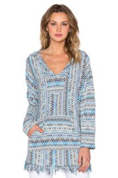 Michael Lauren Buster Hooded Poncho Blue