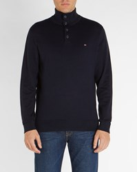 Tommy Hilfiger Midnight Blue Button Up Collar Trim Sweater