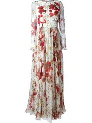 Dolce And Gabbana Daisy And Poppy Print Maxi Dress Red