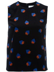 Victoria Beckham Strawberry Print Sleeveless Top Black