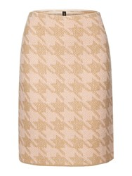Marc Cain Dogstooth Knitted Skirt Camel Pink