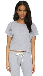 Monrow Cutoff Mini Raglan Crop Top Heather