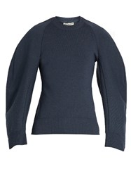 Balenciaga Cocoon Sleeved Wool Blend Sweatshirt Blue