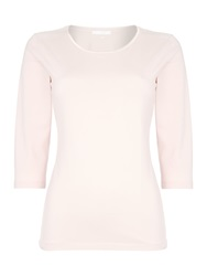 Hugo Boss Emmina 3 4 Sleeve Satin Trim Tee Pink