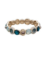Lonna And Lilly Crystal Accented Wide Stretch Bracelet Gold
