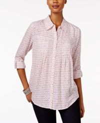 Styleandco. Style Co. Petite Mixed Print Shirt Only At Macy's Brilliant Magenta