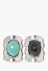 Boohoo Large Stone Ring 2 Pack Silver