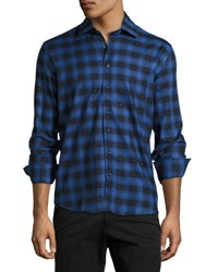 Neiman Marcus Check And Dotted Button Front Shirt Royal Blue