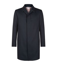 Thom Browne Cotton Twill Mac Overcoat Male Navy