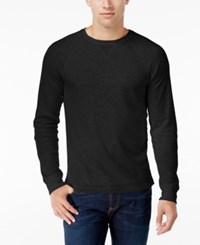 Club Room Men's Waffle Knit Thermal Shirt Only At Macy's Deep Black