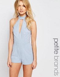 New Look Petite High Neck Playsuit Pale Blue