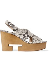 Tory Burch Infinity Cutout Snake Effect Leather Wedge Sandals Animal Print