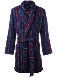 Massimo Piombo Mp Striped Belted Robe Coat