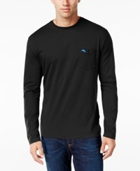Tommy Bahama Men's Big And Tall Pima Long Sleeve T Shirt Black