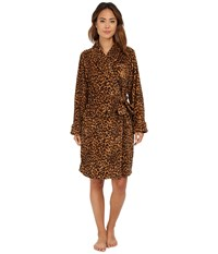 Lauren Ralph Lauren Folded So Soft Terry Short Robe Keene Leopard Women's Robe Brown