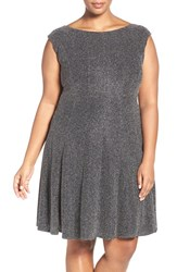 Gabby Skye Plus Size Women's Glitter Knit Shift Dress