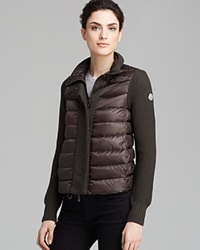Moncler Cardigan Maglione Textured Down Olive