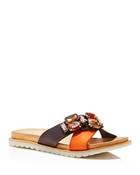 Charles David Pella Jeweled Crisscross Slide Sandals Brown Orange