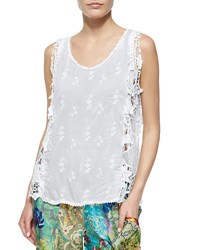 Johnny Was Lacy Mesh Tank White