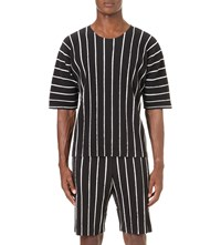 Homme Plisse Issey Miyake Striped Pleated Short Sleeved Top Black White