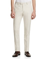 Hardy Amies Ivory Slim Fit Trousers