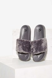 Lust For Life Fine Thanks Faux Fur Slide Sandal Gray