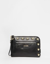 Love Moschino Studded Leather Clutch Bag Black