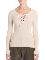 Set Lace Up Long Sleeve Sweater Oyster