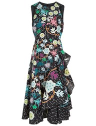 Peter Pilotto Black Printed Ruffle Midi Dress