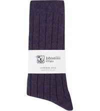Johnstons Ribbed Cashmere Blend Socks Blackberry