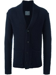Laneus Diagonal Ribbed Cardigan Blue
