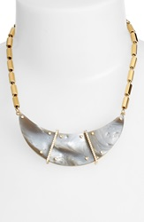 Rachel Zoe 'Jona' Jewel Rivet Collar Necklace Gold Smoke Resin Horn