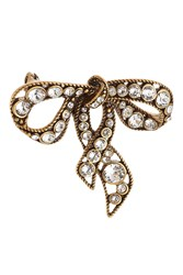 Marc Jacobs Crystal Embellished Bow Brooch Gold