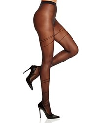 Wolford Allison Striped Tights Black Black
