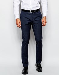 Sisley Check Suit Trouser In Slim Fit Navy