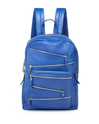 Ash Angel Large Zip Front Leather Backpack Sapphire Blue