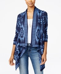 Ohmg Oh Mg Juniors' Southwest Asymmetrical Hem Cardigan Navy Slate