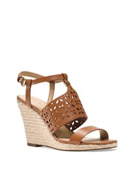 Michael Michael Kors Darci Leather Espadrille Wedge Sandals Luggage