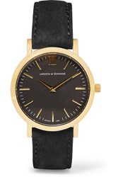 Larsson And Jennings Liten Small Suede And Gold Plated Watch Black