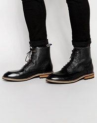 Peter Werth Lace Up Boots In Black Leather Black