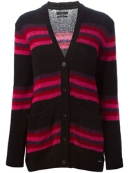 Diesel Block Stripe Cardigan Black