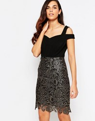 Lashes Of London Evie Lace Dress Black And Gold