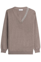 Brunello Cucinelli Cashmere Pullover With Embellished Trim Brown