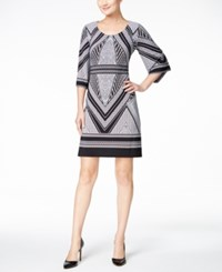 Calvin Klein Petite Geo Print Bell Sleeve Jersey Dress Black White