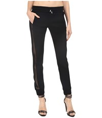 Philipp Plein Side Sheer Paneled Joggers Black Women's Casual Pants