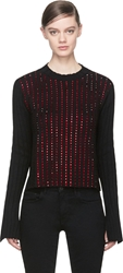 Anthony Vaccarello Black Cashmere Red Swarovski Studded Sweater