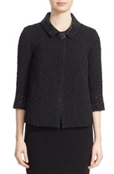 St. John Women's Collection Embellished Three Quarter Sleeve Matelasse Jacket Caviar