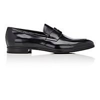 Prada Men's Apron Toe Penny Loafers Black Blue Black Blue