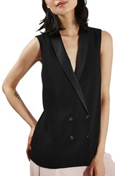 Women's Topshop Sleeveless Double Breasted Slouch Jacket Black