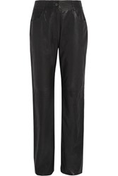 Mcq By Alexander Mcqueen Leather Straight Leg Pants Black